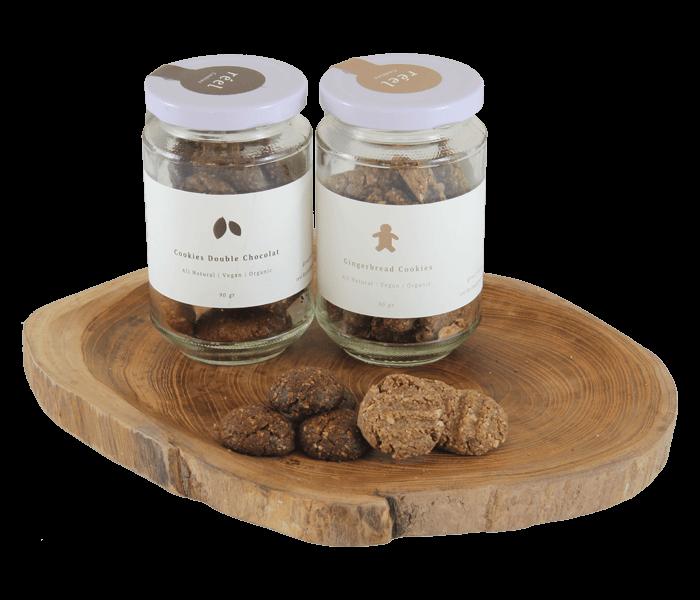 Reel Kitchen Pack of 2 Vegan Cookies Jars - Double Chocolate & Gingerbread