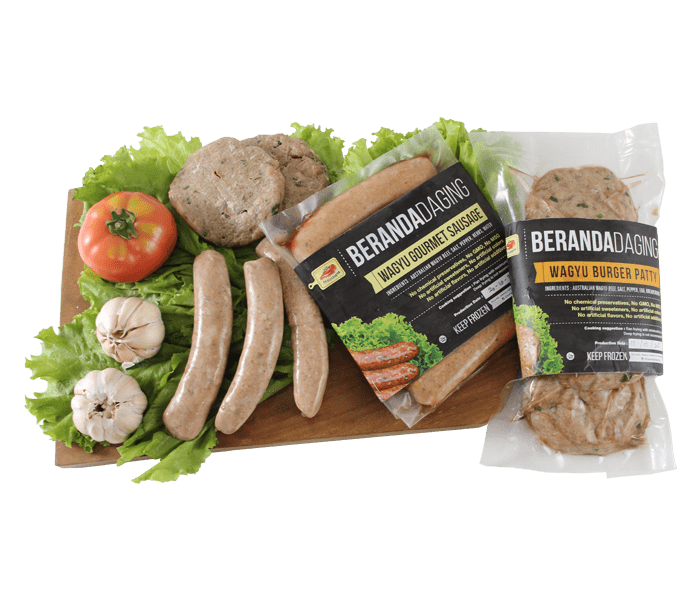Beranda Daging Pack of Wagyu Burger Patty & Gourmet Sausage