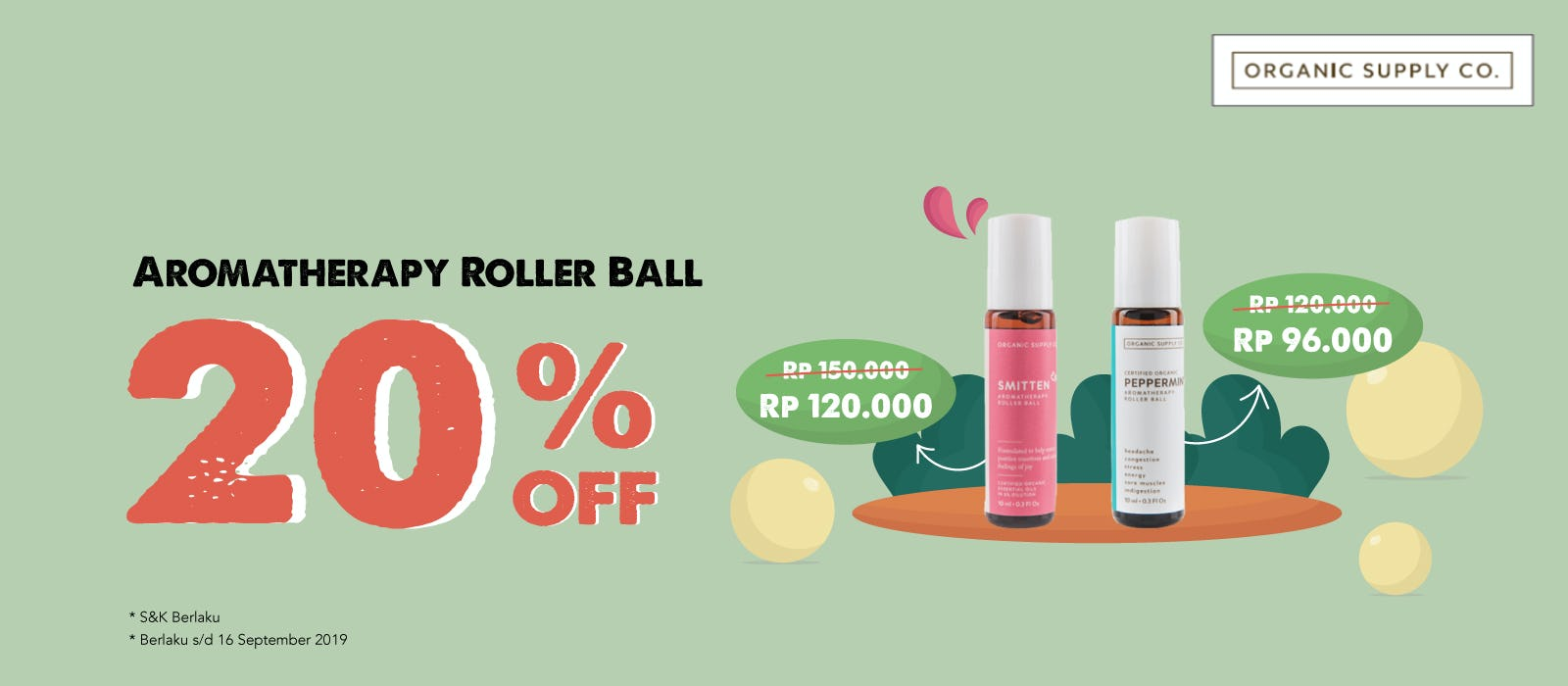 Organic Supply Aromatherapy Roller Ball 20% OFF