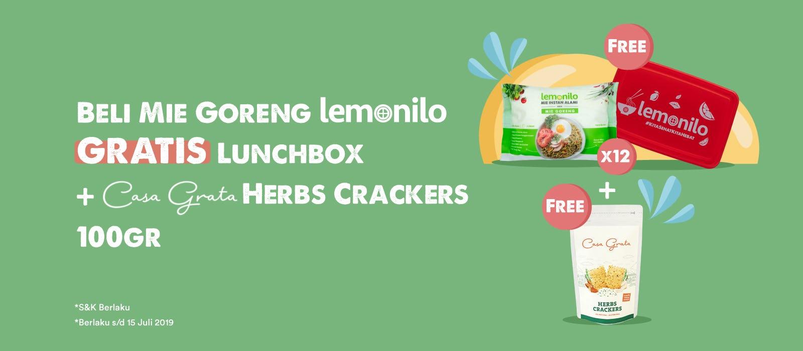Beli Mie Goreng Lemonilo GRATIS Lunchbox dan Casa Grata Herbs Crackers