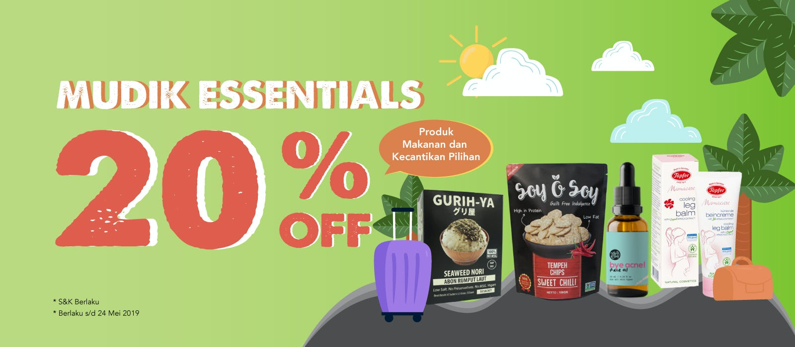 Mudik Essentials 20% OFF Produk Makanan dan Kecantikan