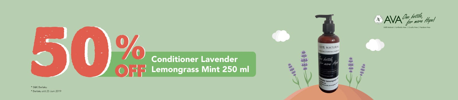 Ava Natural Conditioner Lavender Lemongrass Mint 250 ml 50% OFF