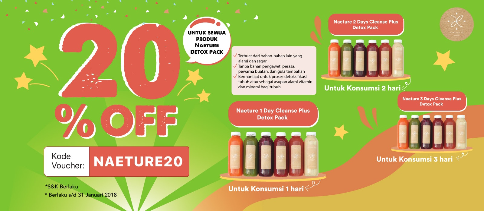 Minuman Detox Pack Naeture 20% OFF