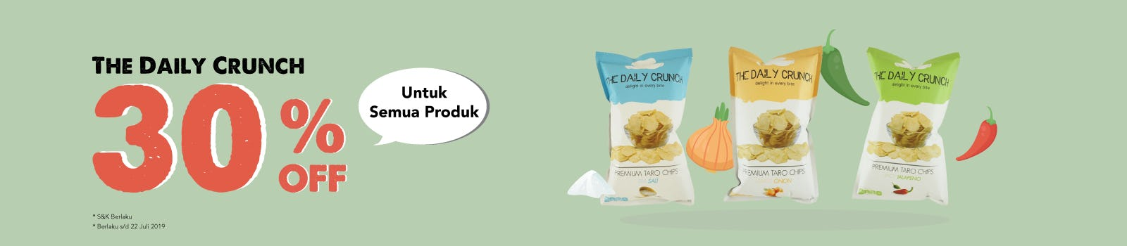 The Daily Crunch 30% OFF Semua Produk