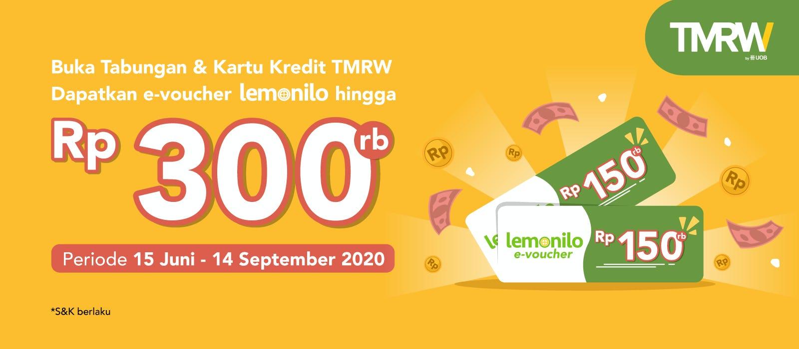 Buka Tabungan & Kartu Kredit TMRW Dapat E-Voucher Lemonilo