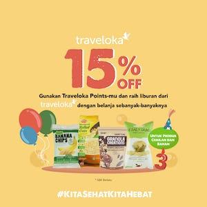 15% OFF Produk Cemilan dan Bahan dengan Traveloka Points