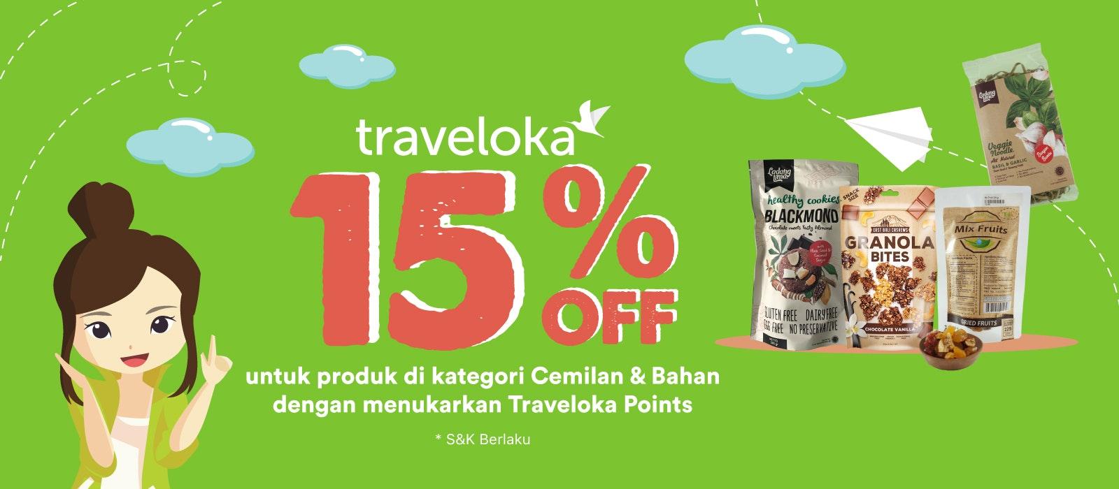 Produk Cemilan & Bahan 15% OFF dengan Traveloka Points