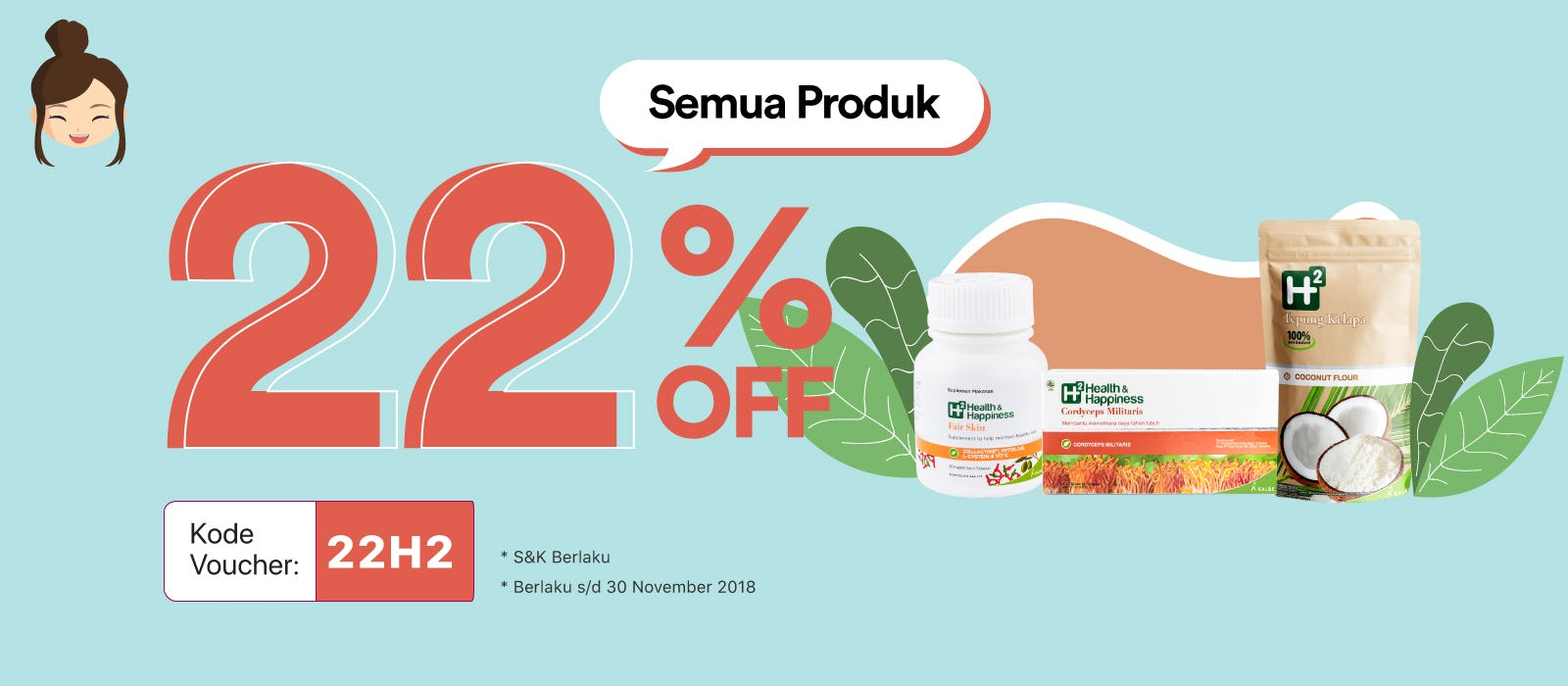 H2 Health & Happiness 22% Off