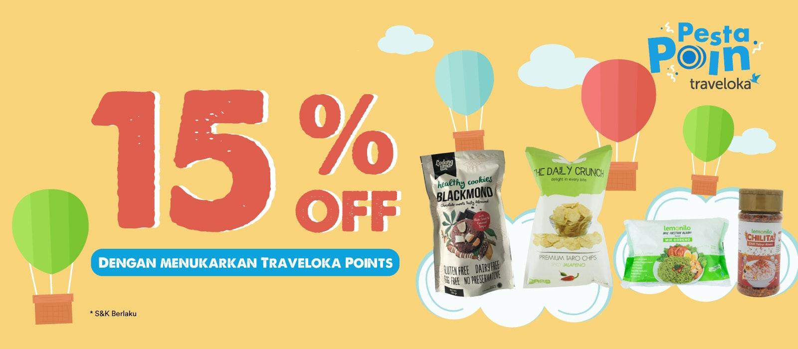 Pesta Poin Traveloka: 15% OFF dengan Menukarkan Traveloka Points