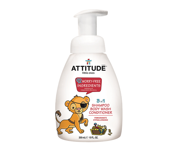 Attitude Little Ones Baby 3 in 1 (Shampoo, Body Wash, & Conditioner) Pomegranate 300 ml