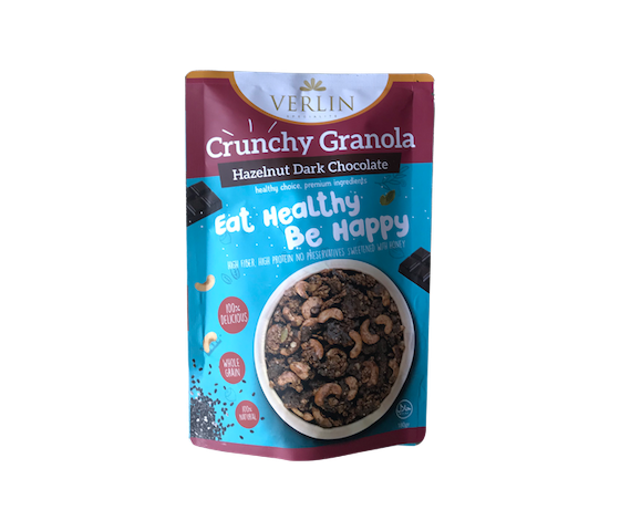 Verlin Hazelnut Dark Chocolate Crunchy Granola