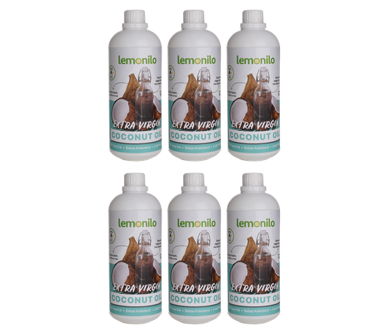 LemoniloBox 100% Organic Extra Virgin Coconut Oil (VCO) 1000 ml (Pack of 6)