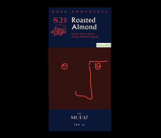 Vel Moriz 82% Dark Chocolate Roasted Almond 100 gr