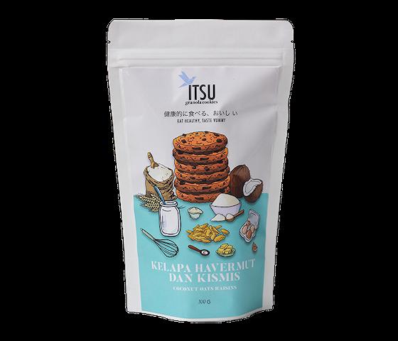 Itsu Granola Cookies Kelapa, Havermut, & Kismis (Coconut, Oat, & Raisins) 100 gr