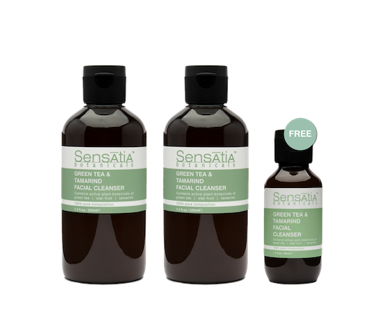 Sensatia Botanicals Green Tea & Tamarind Facial Cleanser Twin Pack 220 ml FREE Green Tea & Tamarind Facial Cleanser Travel Size 50 ml