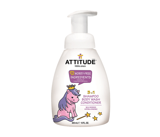 Attitude Little Ones Baby 3 in 1 (Shampoo, Body Wash, & Conditioner) Wild Berry 300 ml