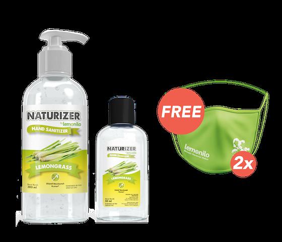 Beli Naturizer Lemongrass Gel 300 ml dan 50 ml GRATIS 2 Masker Kain Lemonilo