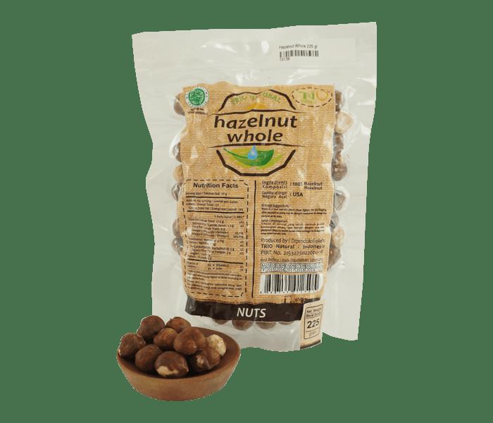 Trio Kacang Hazelnut Utuh Alami 225 gr