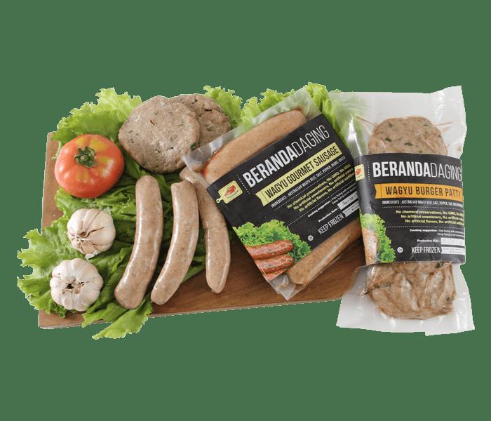 Jual Beranda Daging Pack of Wagyu Burger Patty & Gourmet Sausage hanya di Lemonilo.com