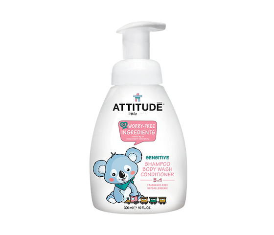Attitude Little Ones Baby 3 in 1 (Shampoo, Body Wash, & Conditioner) No Fragrance 300 ml